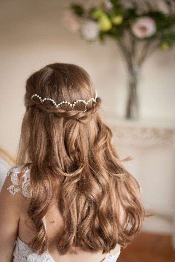 Scalloped Fresh Water Pearl Halo Pearl Headpiece by AnnaMarguerite