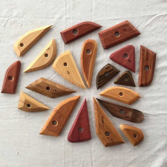 these tools are handmade and beautiful to be both inspiring and useful while you, or your loved ones, make pots, mugs, sculptures, and any other creation out of clay.  the perfect gift for beginning or experienced potters, these tools are made from local and exotic hardwoods that are able to hold up to constant wetness and heavy use. Oiled to preserve colour and for greater water-resistance. Brazilian Cherry, Oak, Rosewood etc  Happy sculpting!  the longest tool is 6 long  complete with…
