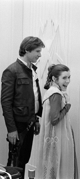 Behind the scenes of Star Wars Episode V: The Empire Strikes Back: Han Solo (Harrison Ford) and Princess Leia (Carrie Fisher)