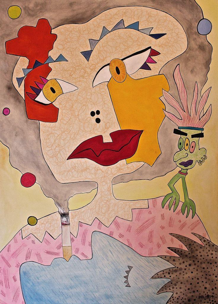 Smoky Hair (2014) by Ninah Mars https://www.saatchiart.com/art/Painting-Smoky-Hair/928554/3229259/view #art #painting #acrylic #watercolors