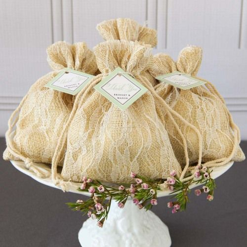 Burlap and Lace Favor Bags by Beau-coup