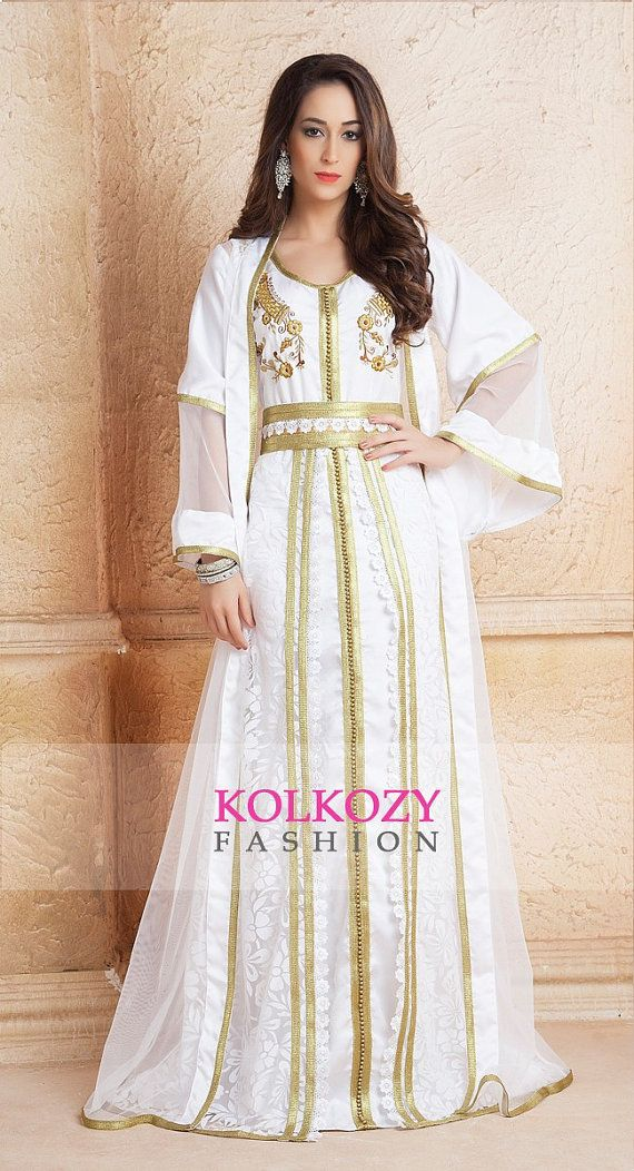 Jacket Style Moroccan Kaftan Dress White Color by KolkozyShop
