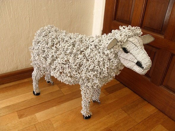 African Beaded Wire Animal Sculpture - SHEEP - White by Hadeda on Etsy https://www.etsy.com/listing/245039739/african-beaded-wire-animal-sculpture