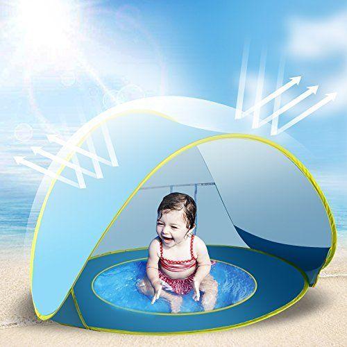 #beachaccessoriesstore Jasonwell Baby Beach Tent Toy Portable Pop Up Sun Shade Kiddie Tent Pool with Canopy UV… #beachaccessoriesstore