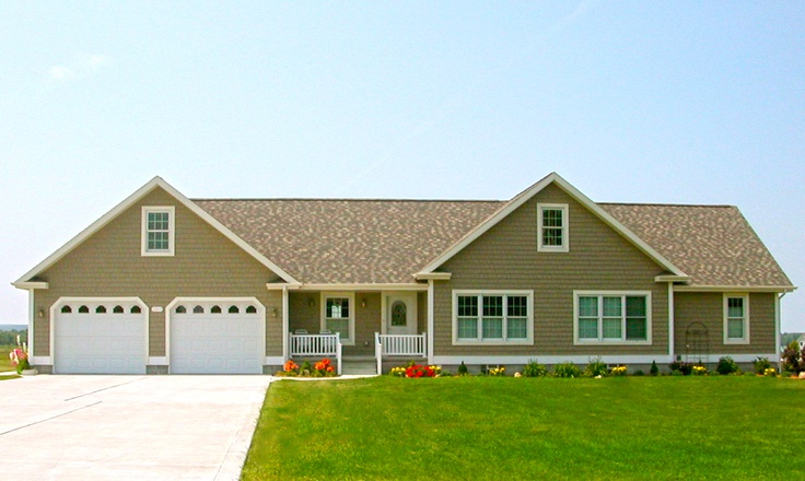 Front elevation with hardie board shake siding ranches for Modular homes with garages