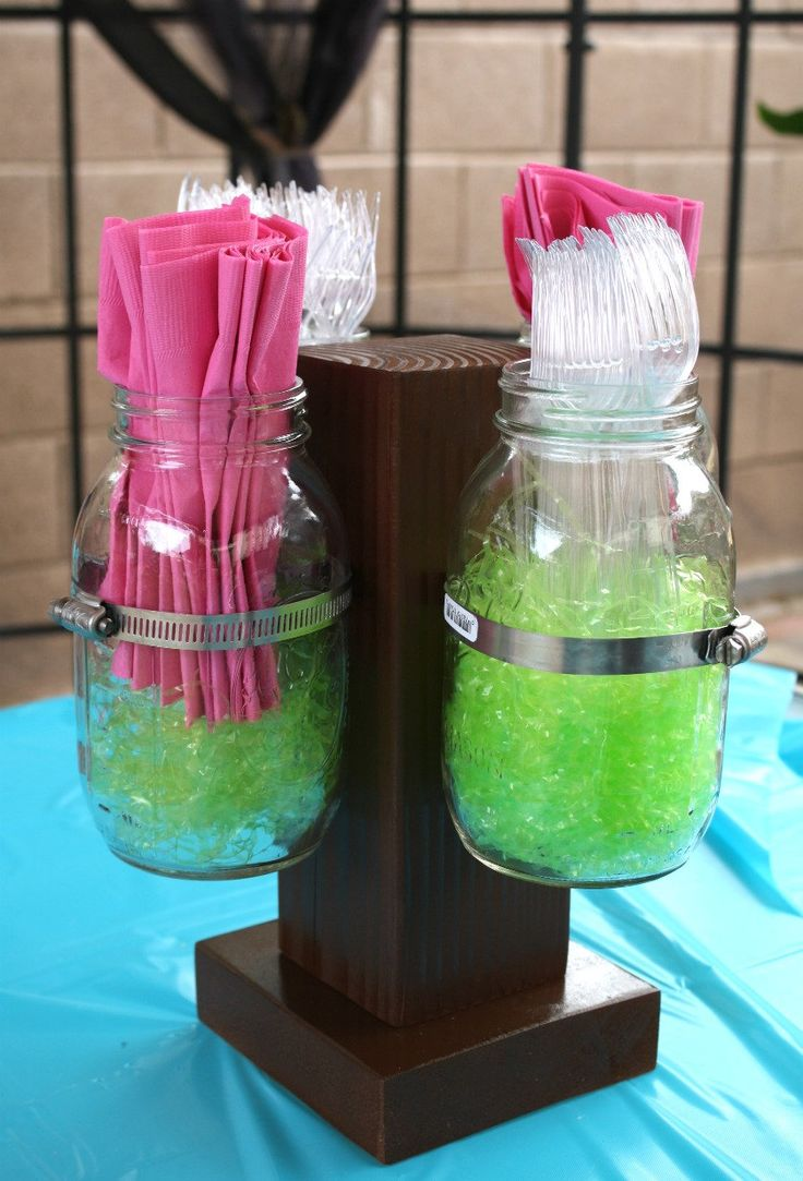 Mason Jar Organizer- Perfect for holding forks, spoons, napkins at parties- Wide mouth mason jars available. $40.00, via Etsy.