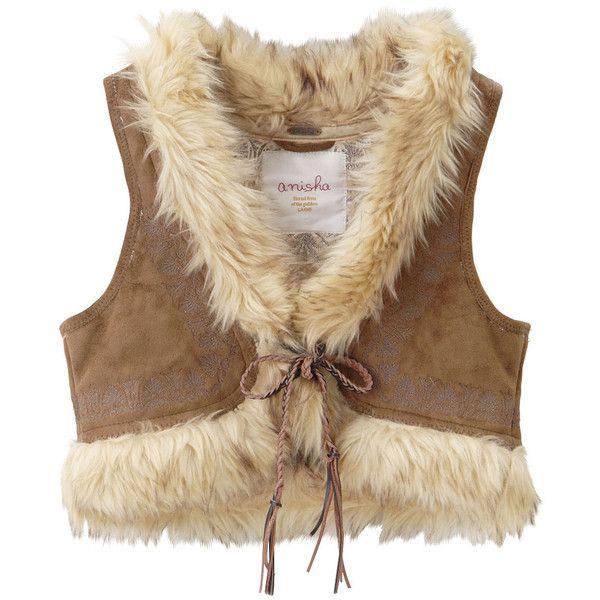 フェザーラメP/O Ⅱ ❤ liked on Polyvore featuring outerwear, vests, jackets, tops, brown waistcoat, vest waistcoat and brown vest