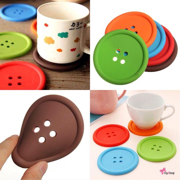 Porta copos em formato de botão! Costure bons momentos!   (Kit com 5) Disponível em: www.ivyshop.com.br  #porta #copos #botão #cozinha #divertidos #inusitados #decoração #casa #enxoval #ateliê #criativos #presentes #botões #fundesign #design #utensílios