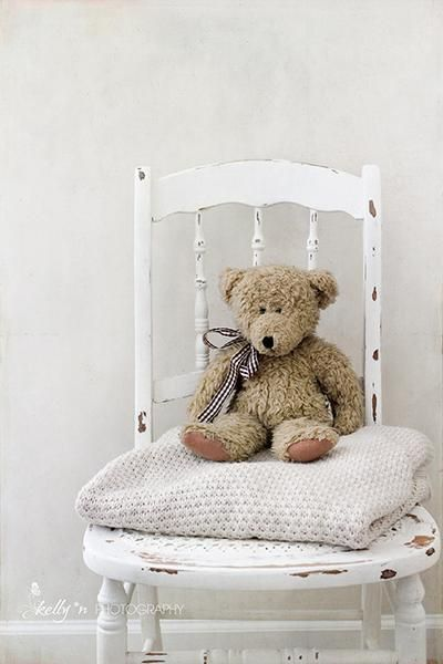 """""""Teddy Chair""""- Sweet child's teddy bear and blanket on vintage white chair. Great for a nursery or child's room. Fine Art Print - Professionally printed upon order. My photographs are professionally p                                                                                                                                                                                 More"""