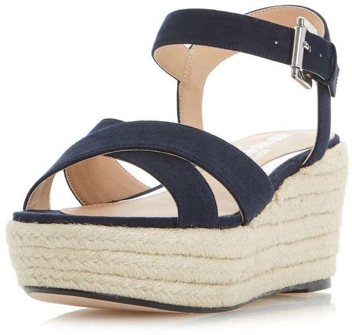 Head Over Heels *Head Over Heels by Dune 'Kyli' Navy Wedge Sandals
