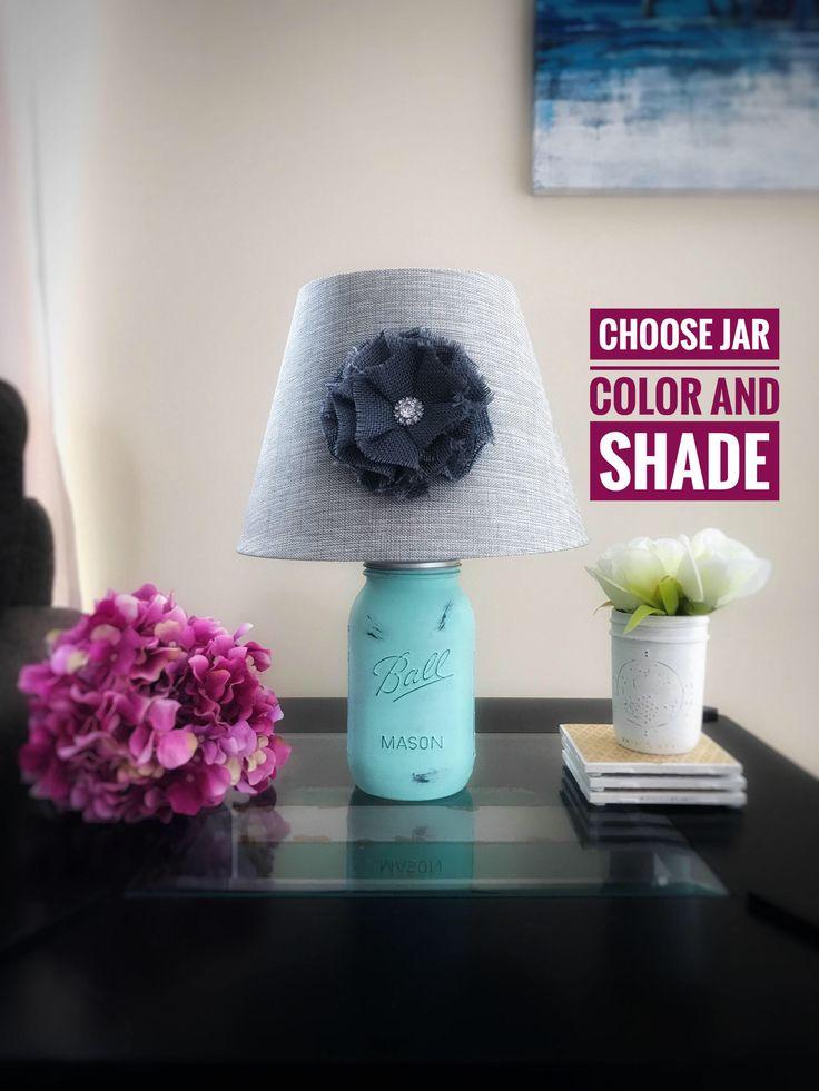 Mason Jar Lamp, Mason Jar Light, Hand Painted Lamp, Quart Mason Jar Lamp, Rustic Lamp, Mint Lamp, Farmhouse Lamp, Shabby Chic Lamp, Country by MintedCountryShop on Etsy https://www.etsy.com/listing/510645542/mason-jar-lamp-mason-jar-light-hand