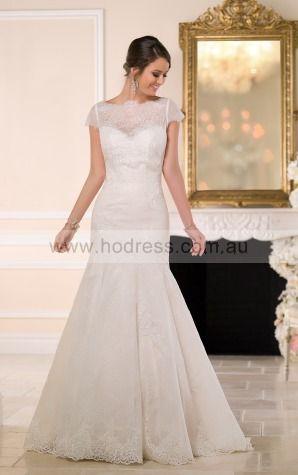 Mermaid Jewel Empire Cap Sleeves Floor-length Wedding Dresses wes0130--Hodress