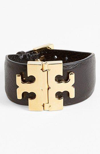Tory Burch Wide T-Hinge Leather Bracelet
