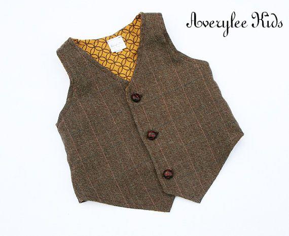 Boys Brown Tweed Vest, Herringbone Brown Vest for Boy's ...