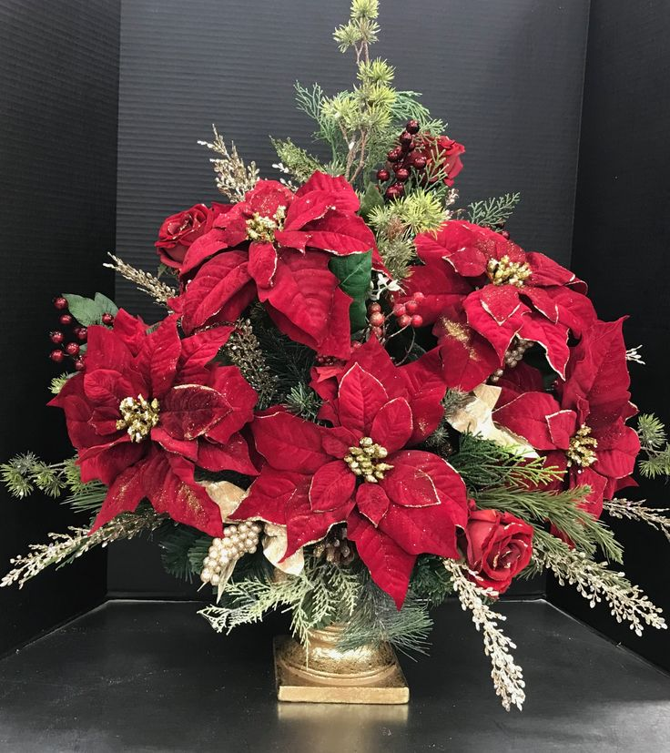 Large Poinsettia and Gold Urn by Andrea