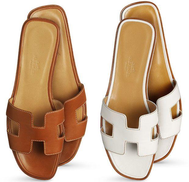 Hermes Oran sandalen cognac white | Mode schoenen, Hermes