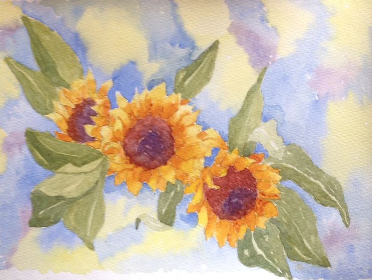 More sunflowers, watercolour
