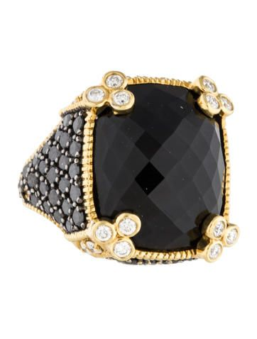 Judith Ripka Onyx and Diamond Monaco Ring