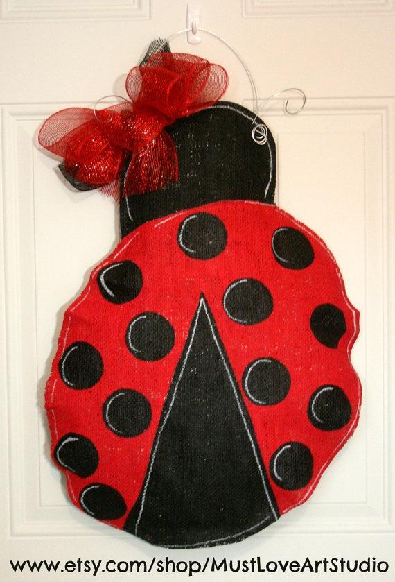 Ladybug Burlap Door Hanger Decoration Girls by MustLoveArtStudio, $35.00Burlap Wreaths, Burlap Door Hangers, Ladybugs Burlap, Burlap Crafts, Hangers Decor, Crafts Decor, Burlap Projects, Burlap Doors Hangers, Animals Ladybugs