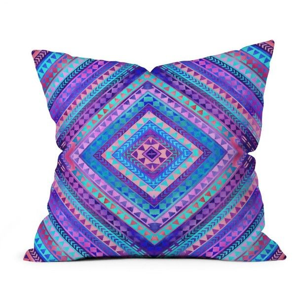 "Deny Rhythm Decorative Pillow, 16"" x 16"" (2,075 PHP) ❤ liked on Polyvore featuring home, home decor, throw pillows, blue throw pillows, deny designs throw pillows, blue accent pillows, purple toss pillows and deny designs"