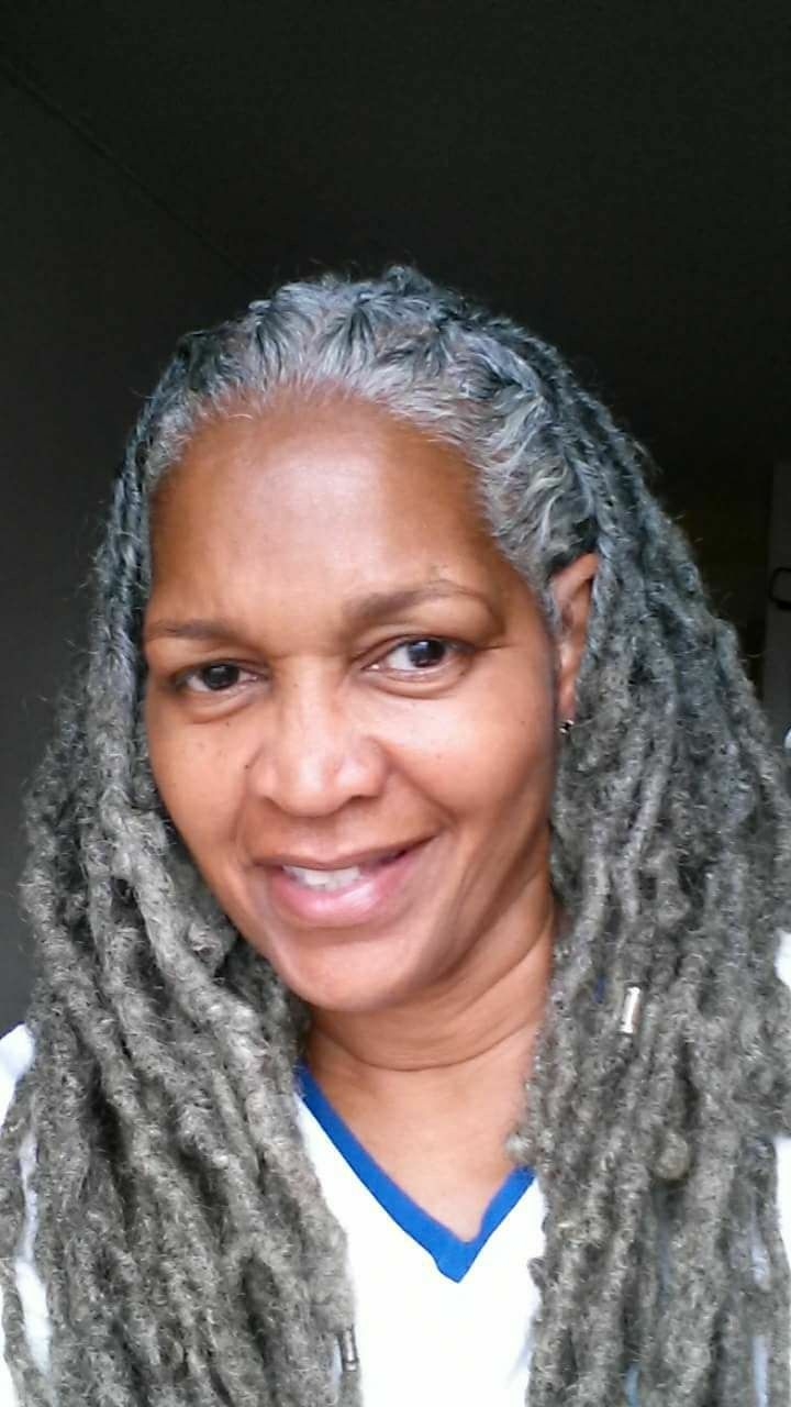 silver and white locs full and beautiful
