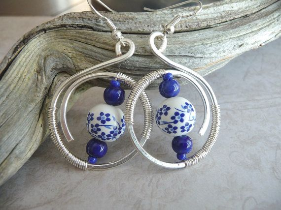 Ceramic Bead Earrings Wire Wrapped
