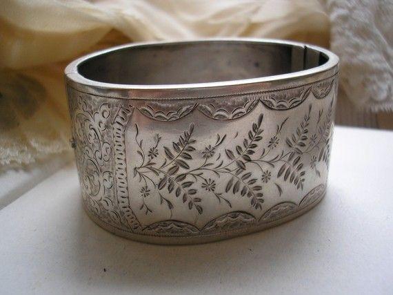 victorian silver cuff bangle