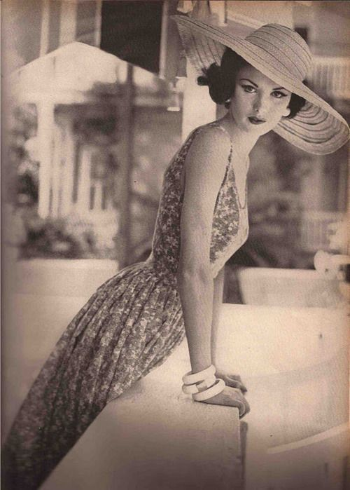 Vogue-1960  I would totally wear this.  I think I need a big hat this Summer!  #vintage #fashion