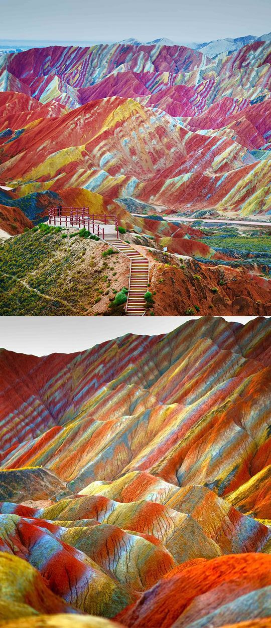 Rainbow Mountains, China (jprobably some color enhancement plus a perfect lighting situation - link to HuffPost gives variety of pics)