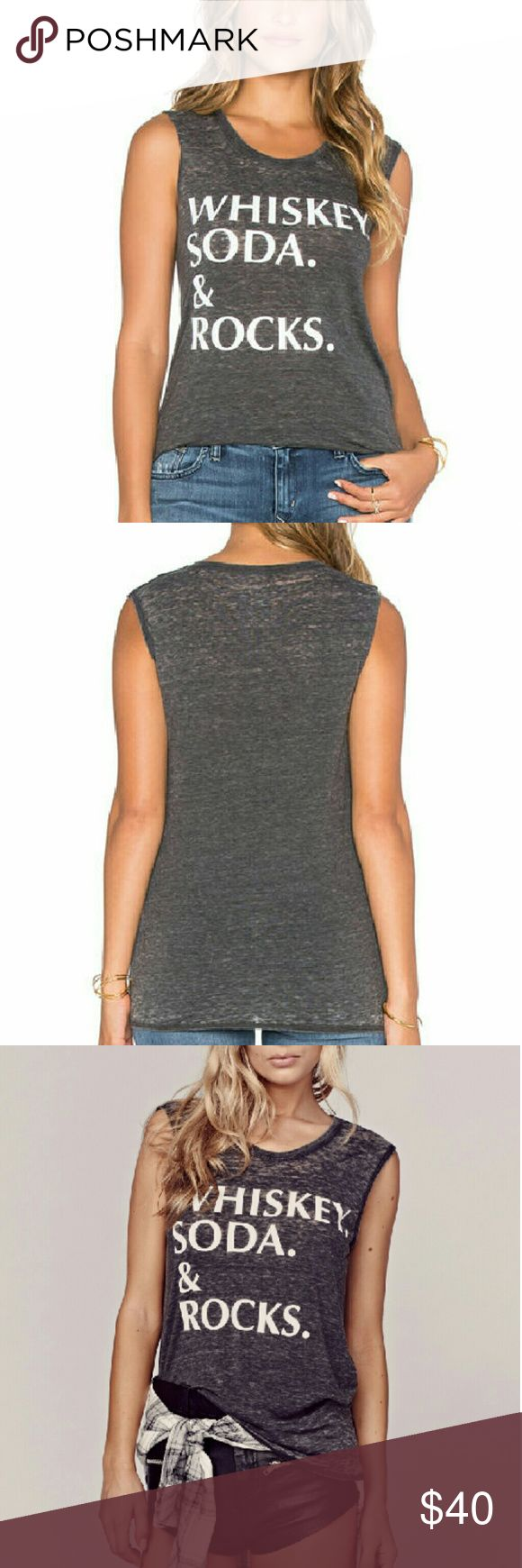 SALE NWT Chaser Whiskey Soda and Rocks Muscle Tank In vintage black. It's a gray-black with a burnout effect. Jersey knit. 60% cotton 40% polyester.  Smoke and pet free home. Chaser Tops Muscle Tees