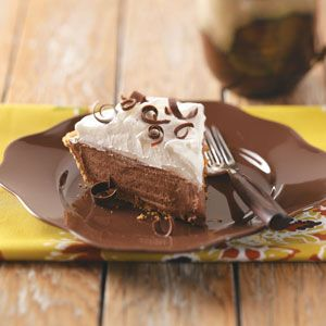 Heavenly Chocolate Pie Recipe from Taste of Home -- What a lovely way to satisfy chocolate cravings! Donna Roberts - Manhattan, Kansas