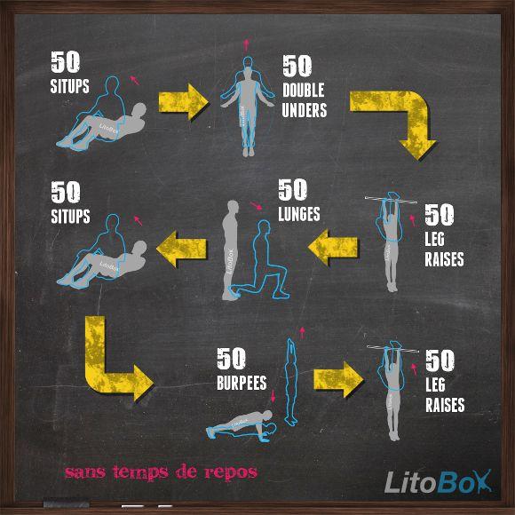 Entraînement du 07/11/2013 (Crossfit WOD au poids du corps) 50 sit-ups, 50 double unders, 50 leg raises, 50 lunges (25 de chaque côté), 50 sit-ups, 50 burpees, 50 leg raises