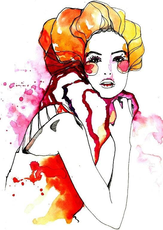 Watercolor portrait | Love the vibrant colors