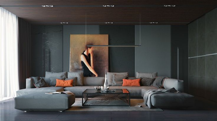Una pieza cálida en un entorno sobrio y sofisticado.