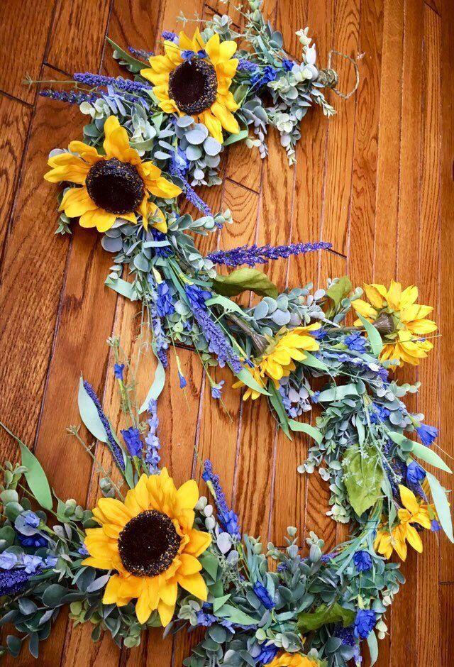 Large Sunflower And Lavender Garland Wedding Garland Summer Garland Farmhouse Wedding Decor Mantle Garland Farmhouse Decor Spring Swag Garland Wedding Farmhouse Wedding Mantle Garland