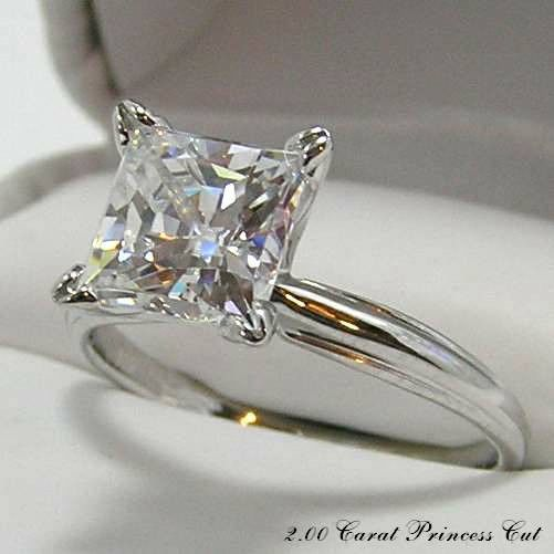 PRINCESS CUT ENGAGEMENT 2.00 CARAT RING HYBRID DIAMOND / 2 CT. 14KT. GOLD in Jewelry & Watches, Engagement & Wedding, Engagement Rings   eBay