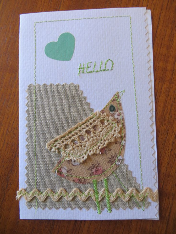 cards, vintage fabric and trims, own design