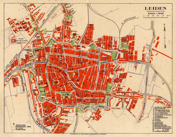 Plattegrond van Leiden, naar schatting rond 1928: het toen gloednieuwe Academisch Ziekenhuis staat al afgebeeld, maar de Boerhaavelaan heette destijds nog Oegstgeesterlaan (naamswijziging in 1931).