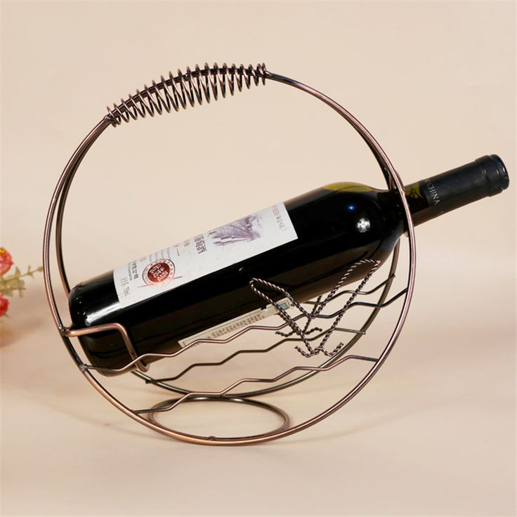 Fashion Wrought Iron Red Wine Creative Metal Rack Shelf Mediterranean Style Wine Holder Decorative Small Metal Buckets