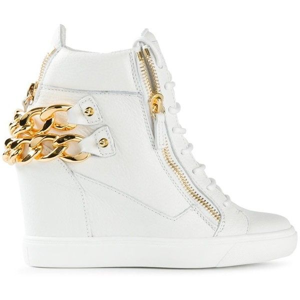 Giuseppe Zanotti Design side zip detail hi-top sneakers ($1,010) ❤ liked on Polyvore featuring shoes, sneakers, white, hi top wedge sneakers, white leather sneakers, white wedge shoes, white high tops and white leather shoes