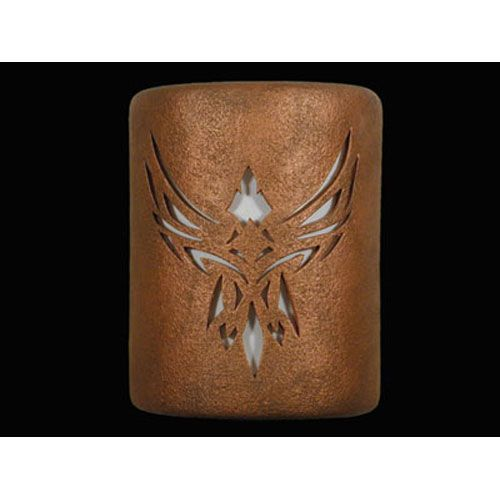 Antique Copper 9-Inch Wall Sconce with Phoenix Center Cutout Design