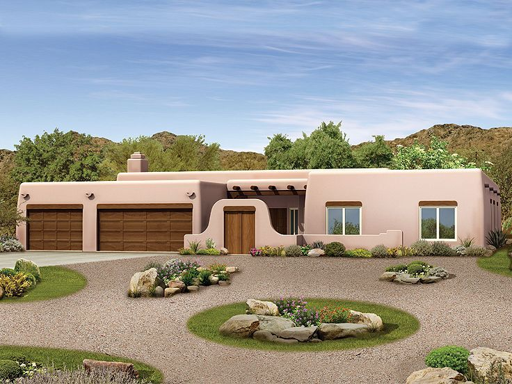 057h 0026 four bedroom adobe house plan features a for Adobe house construction cost