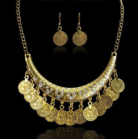 Hot Sale Bohemian Vintage Chokers Necklaces Fashion Ethnic Carved Coins Nice Necklaces&Earrings Set for Women Fine Jewelry Colar    #ring #jewelry #jewels #womenring #necklace #bracelet #earrings #broches  Invite