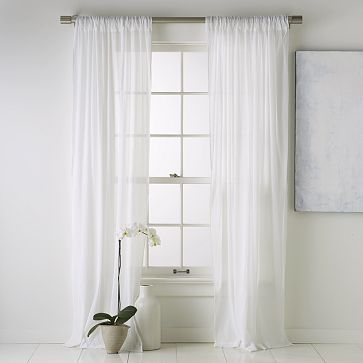 Window Treatment   White Textured Sheer Curtain Panels To Let Light In.  #bebetsy #