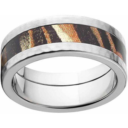 Mossy Oak Shadow Grass Men's Camo Stainless Steel Ring with Hammered Edges and Deluxe Comfort Fit, Size: 9.5
