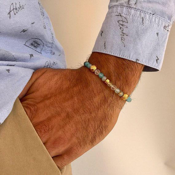 Bracelet for Men, Agate Bracelet, Men's Bracelet, Men's Fashion Bracelet, Gift for Him, Made in Greece by Christina Christi Jewels.