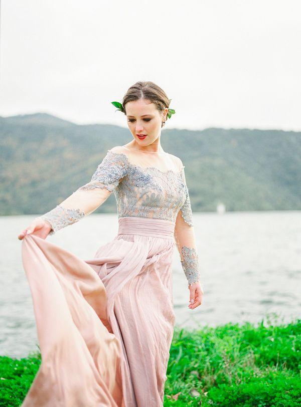 color wedding gowns - photo by 135milimetros http://ruffledblog.com/mountaintop-bridal-inspiration