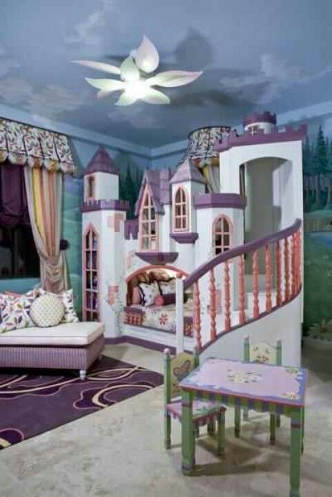 Castle bed with top bunk for guests. The grand staircase is beautiful <3 this whole bed is gorgeous!