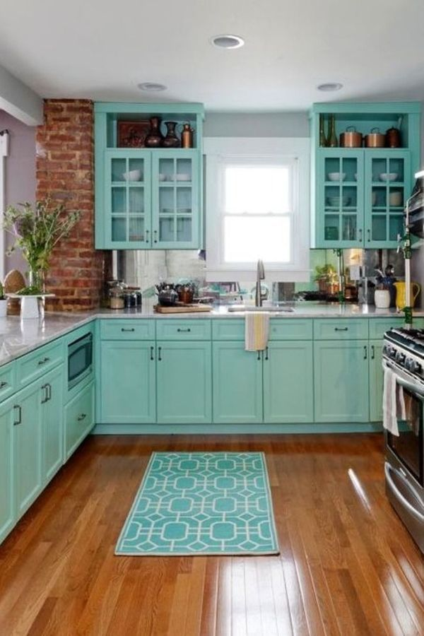Kitchen Kitchen Cabinet Teal Cabinetry Countertop Room Blue Kitchen Decor Tiffany Blue Kitchen Home Decor