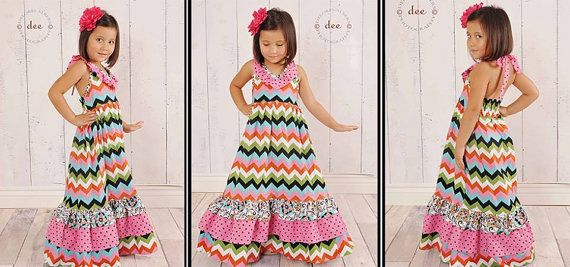 Girls Falling For You Chevron Maxi Halter Top Dress Sizes 6 months - 8 yrs